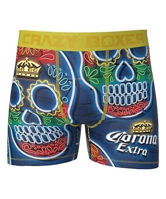 Sugar Skull Male (CRAZY BOXER Corona Extra SUGAR SKULLS Crowns Beer Navy Boxer Briefs Mens)