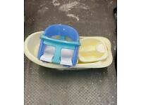 Baby bath, bowl and bath seat