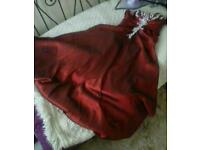 Stunning red satin with lace and pearl wedding / prom dress