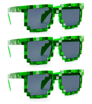 Wholesale Novelty Sunglasses (3 PAIRS GREEN wholesale 8-Bit Pixel Gamer Geek Costume Sunglasses)
