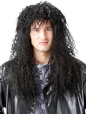 1980S 80'S MALE MENS BLACK HEADBANGER HARD ROCK POP STAR HEAVY METAL COSTUME WIG](1980s Wigs)