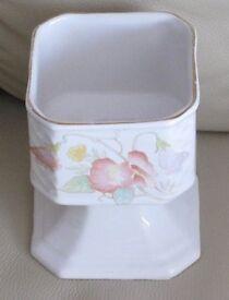 "Pretty square shaped stemmed/pedestal BOWL - 4"" high x 3.5"" dia. white, pretty floral design vgc"