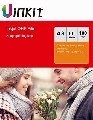 A3 OHP Film Inkjet Only For Overhead Projector - 60 Sheets 420x297mm Uinkit