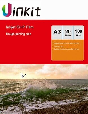 A3 OHP Film Inkjet Print Only For Overhead Projector - 20 Sheet 420x297mm Uinkit