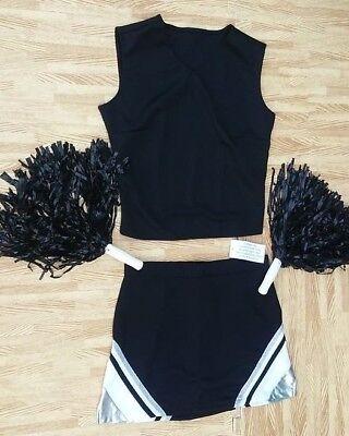 ADULT S M  BLACK SILVER Cheerleader Uniform Top Skirt Poms 34-36/28-29