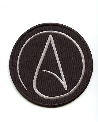 "PATCH ""International Atheist Symbol"" very high quality BLACK BACKGROUND SILVER A"