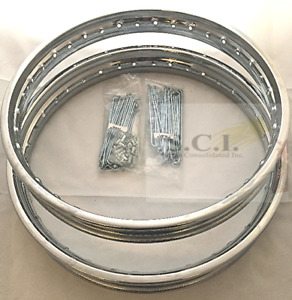 hONDA CB350 FRONT AND REAR CHROME RIM SET AND SPOKES