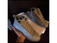 Grey Balenciaga Arena Paris High Top Calfskin Leather Men's Designer Sneakers