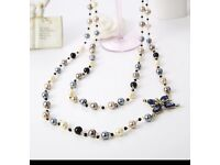 2016 New Hot Fashion Women Cloth Accessories Simulated Pearl Necklace Pendant Long Cross Necklace
