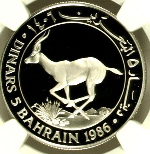 1406 1986 Bahrain Silver 5 Dinars Isa Bin Salman Goitered Gazelle WWF NGC PF69