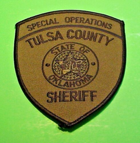 """TULSA COUNTY  OKLAHOMA  SPECIAL OPERATIONS SUBDUED SHERIFF 4 3/4""""  POLICE PATCH"""