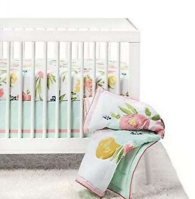 Cloud Island Floral Fields Nursery Crib Set baby Girl 4 pc NWOT Green Pink