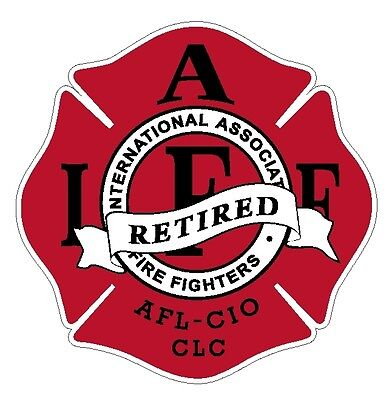 "4"" IAFF Decal Retired Red with Black Trim Exterior Mount Please Read Auction"