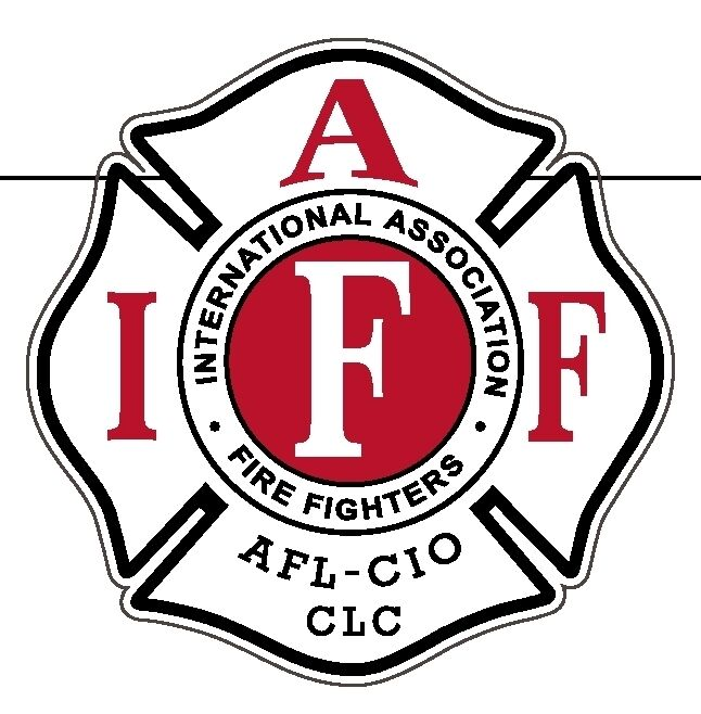 """4"""" IAFF Decal White with Red & Black Trim Ext. Mount Please Read Auction"""