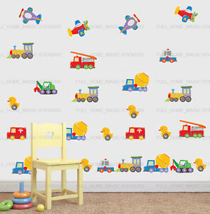 2X-Toy-Cars-Truck-Duck-Transport-26pc-Wall-Sticker-Decal-Nursery-Baby-Kids-Decor
