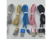 1 or 3 metre usb cables iPhone c type and micro usb