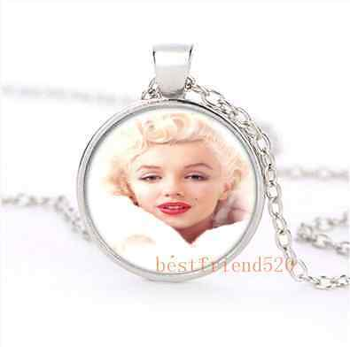 White Marilyn monroe Cabochon Glass Silver Necklace for woman Jewelry
