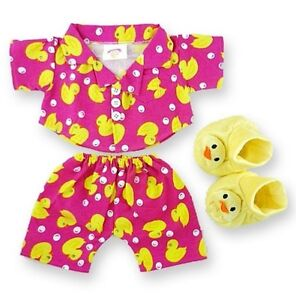 Teddy Bear Clothes fits Build a Bear Pink Duck PJ's & Slippers Bears Clothing