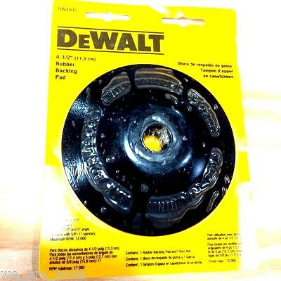 "New Dewalt 4-1/2"" Rubber Backing Pad Abrasive Sanding Disc Angle Grinder DW4945"