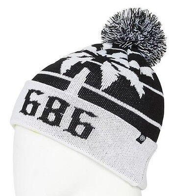 01d363e1955 2019 NWT MENS 686 THROWBACK POM BEANIE  24 O S Black White paradise knit