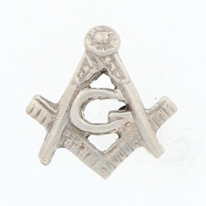 Blue Lodge Master Mason Lapel Pin 14k White Gold Masonic Square & Compass