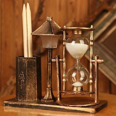 Antique Street Lamp Hourglass Pencil Holder Pen Storage Box Case Office Decor