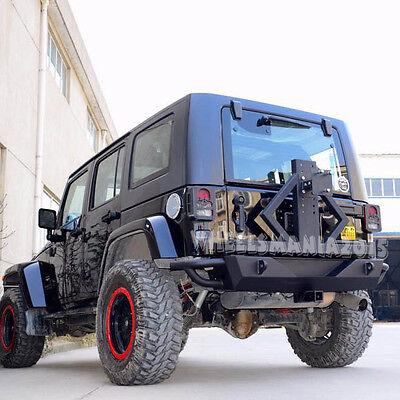 Rock Crawler Full Width Rear Bumper W/Tire Carrier For 07-17 Jeep Wrangler JK wh