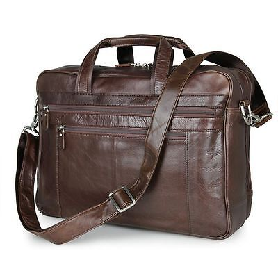Men Genuine Leather 17'' Laptop Luggage Briefcase Pilot Work
