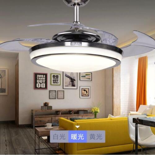 Retractable Blade Led Chandelier Remote Frosted Glass Invisible Ceiling Fans Ebay