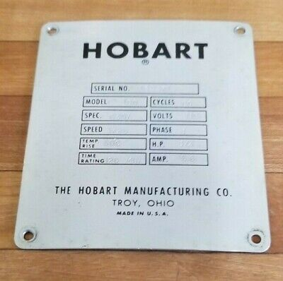 Hobart C-100 10 Quart 10 Qt Mixer Serial License Plate Back Cover P-85098