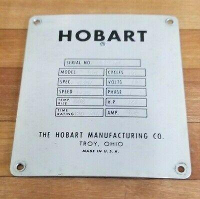 Hobart C-100 10 Quart 10 Qt Mixer Serial License Plate Back Cover P-85098