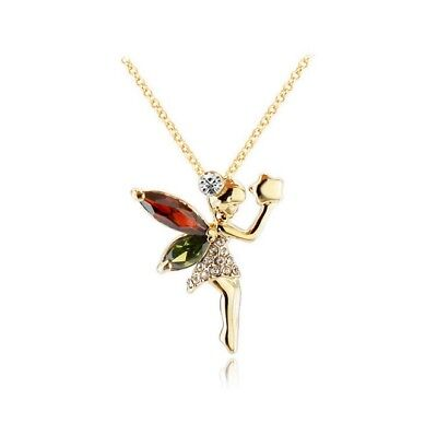 Gold Tone Crystal Mythical Fairy Pendant Necklace for Girls, Teens and Women - Mythical Girls