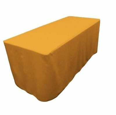 6 Ft. Fitted Polyester Tablecloth Wedding Trade Show Booth Dj Table Cover Gold