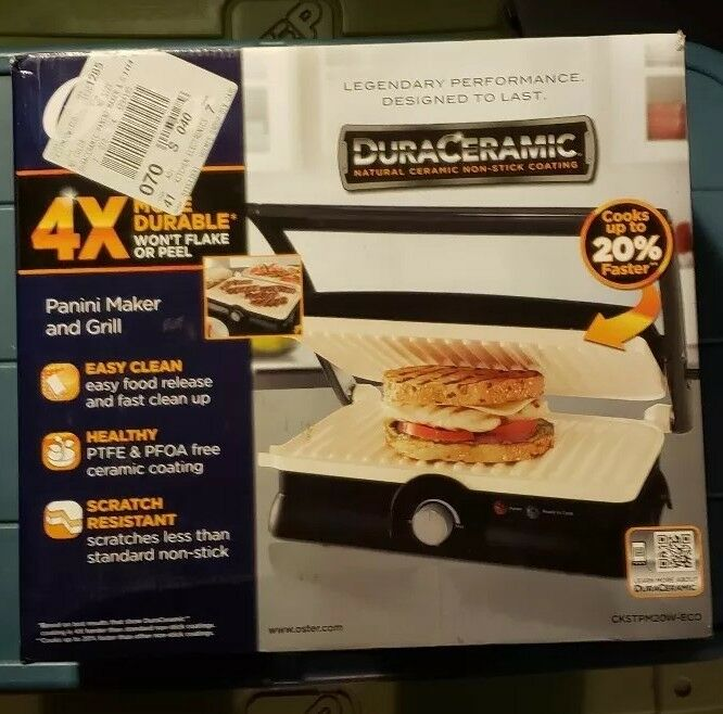 Oster DuraCeramic 2-in-1 Electric Panini Maker/Grill Charcoal CKSTPM20W-ECO