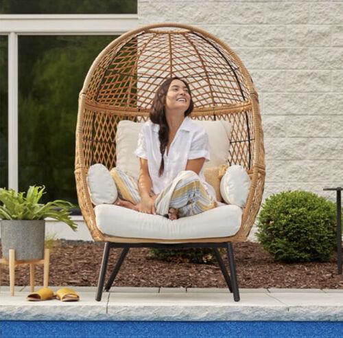Garden Furniture - Stationary Outdoor Egg Chair Patio Deck Cushion Wicker Furniture Garden Seat
