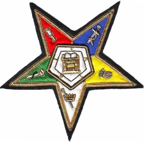 MASONIC ORDER OF EASTERN STAR OES EMBLEM PATCH HAND EMBROIDERED (ME-055)