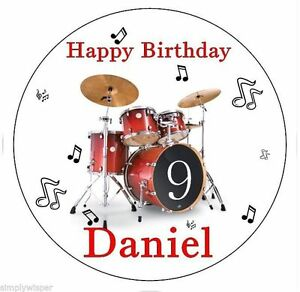Red-Drum-Kit-Birthday-Topper-Personalised-Icing-Cake-Topper-Drummer-Decoration