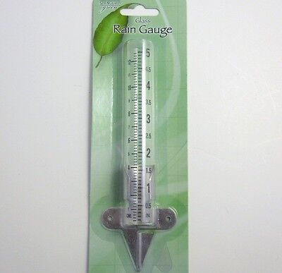 "Rain Gauge 5"" inch Glass Springfield 90106 new ~ with adjustable aluminum holder"