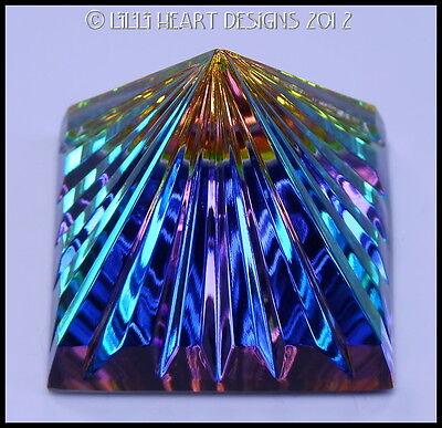 Spectacular Peacock Colors Austrian Fine Crystal Fluted Egyptian Pyramid 50MM