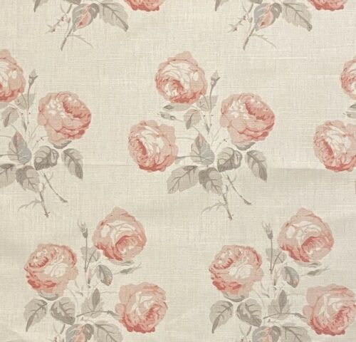 COLEFAX & FOWLER Bowood pink/grey printed linen cotton nylon new remnant
