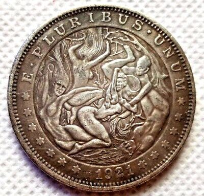 Hobo Nickel Coin_1921-P Morgan Dollar Women Chaos COIN