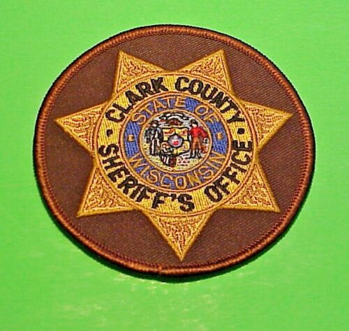 """CLARK COUNTY  WISCONSIN  WI  SHERIFF / POLICE PATCH  3 3/8""""  FREE SHIPPING!!!"""
