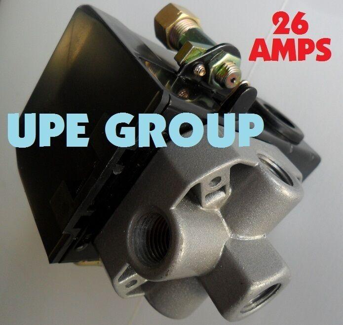 LEFOO PRESSURE SWITCH CONTROL AIR COMPRESSOR 90-125 4 PORT HEAVY DUTY  26 AMP