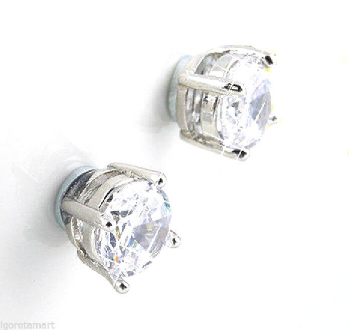 Pair Magnetic Non Piercing Clip On Earrings Studs Clear Stone Men Woman Unisex