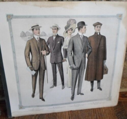 VERY VINTAGE SALESMAN'S SAMPLE CHART, MEN'S SUITING, WITH SAMPLES ON REVERSE