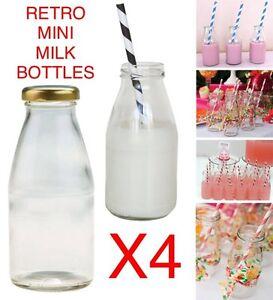 4x PACK 250ml Retro School MINI MILK Glass Bottles VINTAGE HOME DECOR VASE