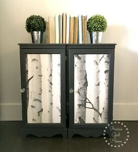Pair of Charcoal Grey Side Tables with Shelves