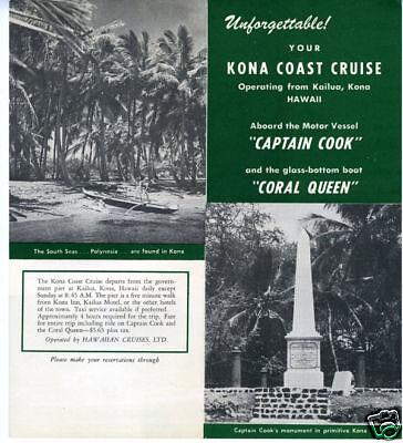 1955 Brochure Kona Hawaii Cruises Aboard Coral Queen