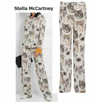 Stella McCartney cat print kitty silk pants trousers I 40 S Us 4 6 UK 8 10 Kitty Cat Pant