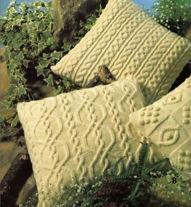 Knitting Pattern for FOUR Beautiful Aran Cushion Covers (117)